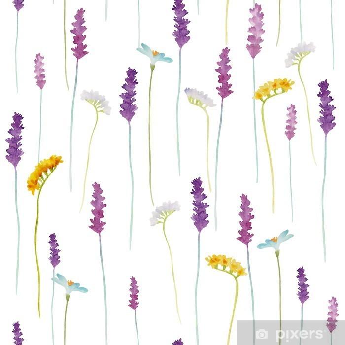 Naklejka Pixerstick Akwarela kwiaty wzór - Kwiaty i rośliny
