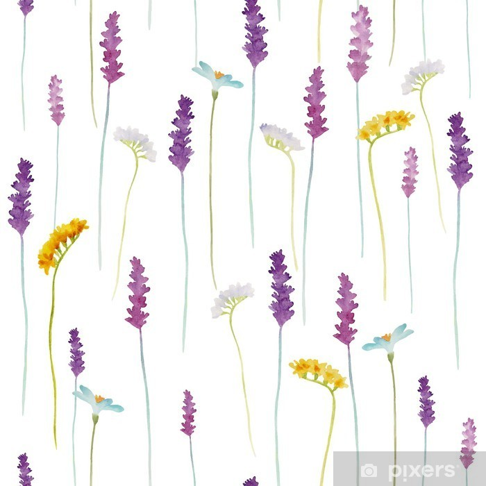 Watercolor flowers pattern. Pixerstick Sticker - Flowers and plants