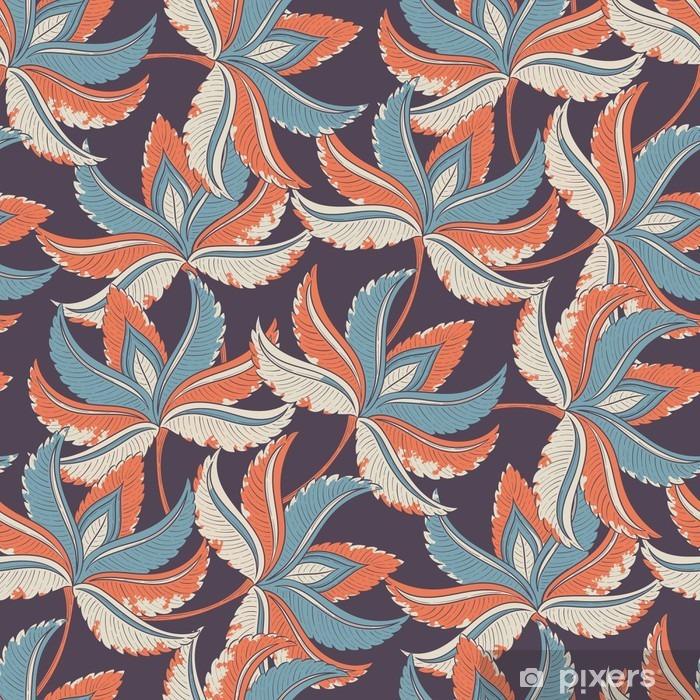 Pixerstick Aufkleber Seamless Retro-Muster - Pflanzen und Blumen