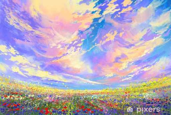 Mural de Parede Pintura de paisagem, flores coloridas no campo sob ...
