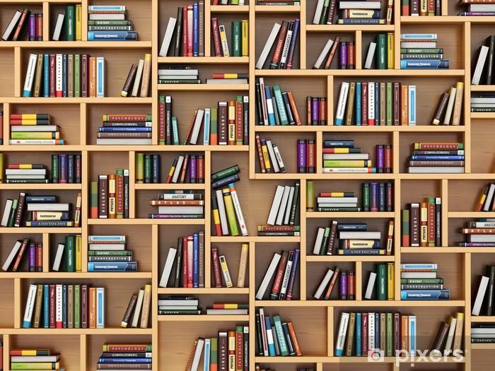 Fototapeta winylowa Koncepcja kształcenia. Książki i podręczniki na półce. - Biblioteczka