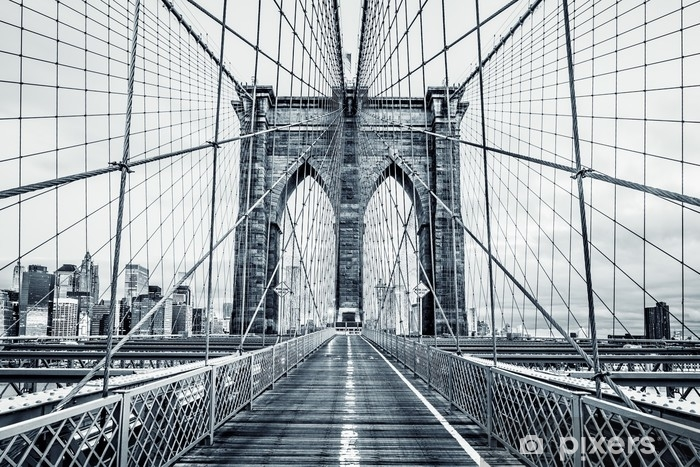 Black and white Brooklyn Bridge Vinyl Wall Mural - Buildings and Architecture