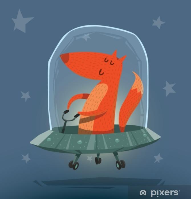 Carta da parati vector fox in ufo immagine cartone animato di una