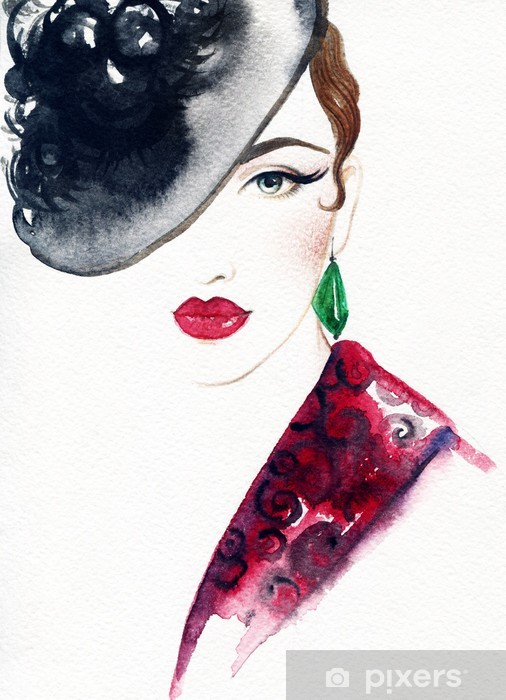 Fotomural Estándar Hermoso rostro. retrato de mujer con sombrero. acuarela  abstracta fondo .fashion ecb99f4dc21