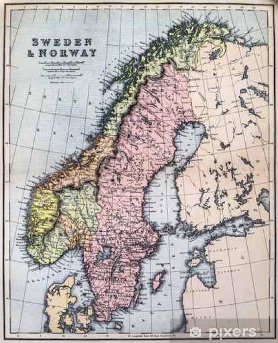 Kort Over Det 19 Arhundrede Sverige Og Norge Pixerstick