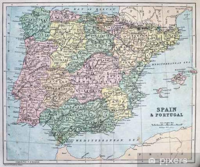 Fototapet Kart Over 1800 Tallet Spania Og Portugal Pixers Vi