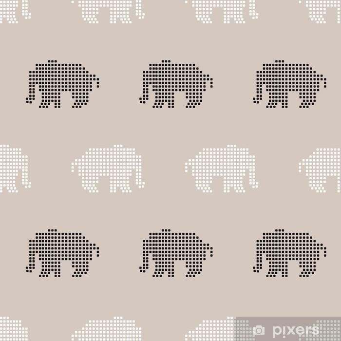 Vinyl-Fototapete Nahtlose Muster Elefant - Für Kinderzimmer
