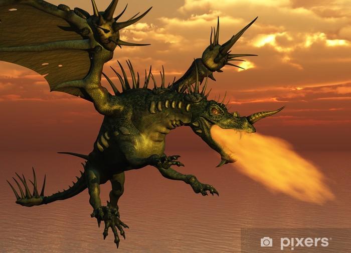 Papier peint vinyle 3D rendent d'un dragon cracheur de feu volant au coucher du soleil. - Dragons