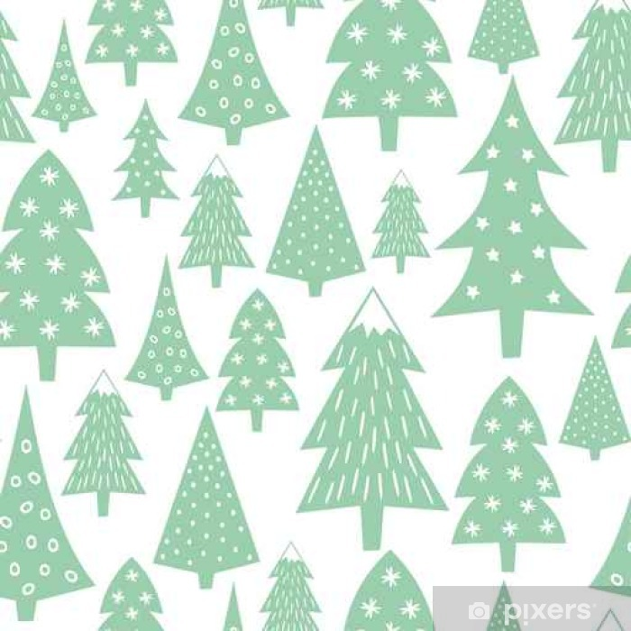 christmas pattern varied xmas trees and snowflakes simple seamless happy new year background