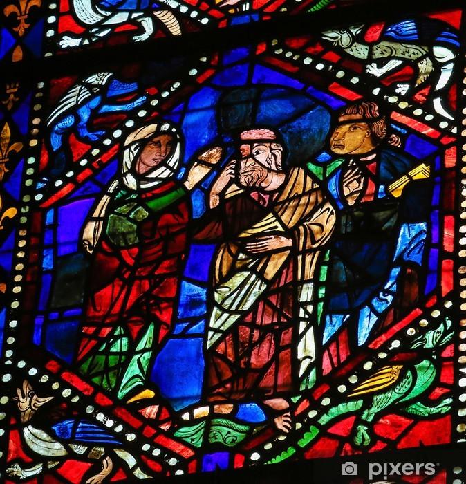 Vinyl Fotobehang Gebrandschilderd glas van Moeder Maria en twee heiligen in de kathedraal van Leon - Religie