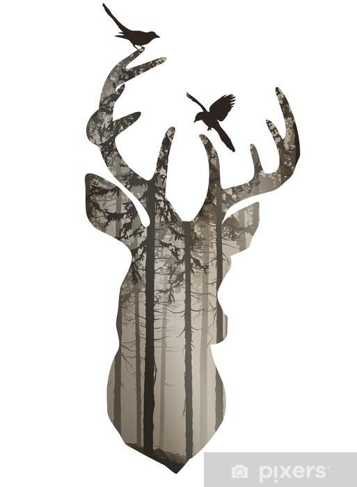 Fototapeta winylowa Głowa jelenia - Zwierzęta