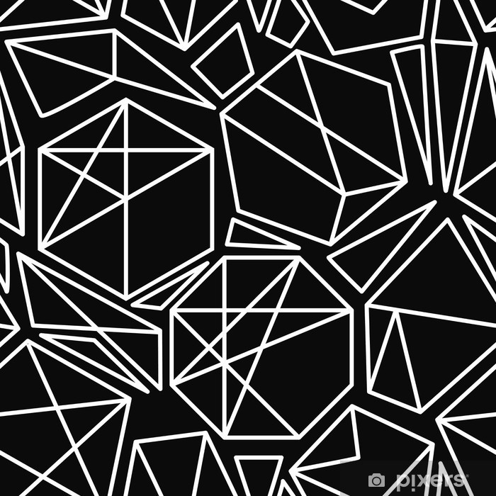 Plakat w ramie Czarno-biały wektor bez szwu geometryczny wzór - Zasoby graficzne