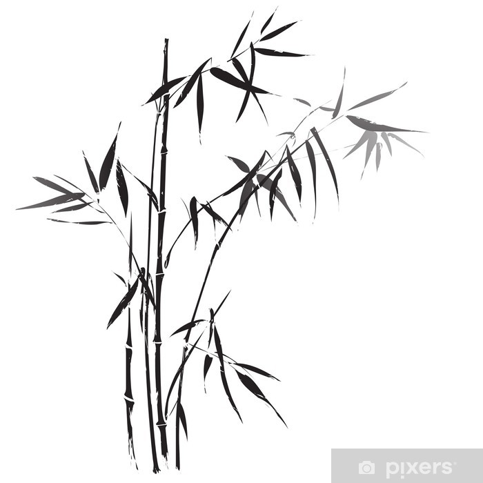 Nálepka Pixerstick Bamboo branches outlined in black - Pozadí