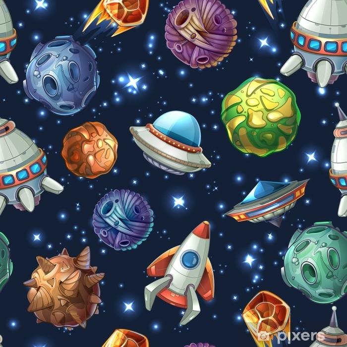 Fototapeta winylowa Komiksowe planety kosmiczne i statki kosmiczne. wektor wzór - Zasoby graficzne