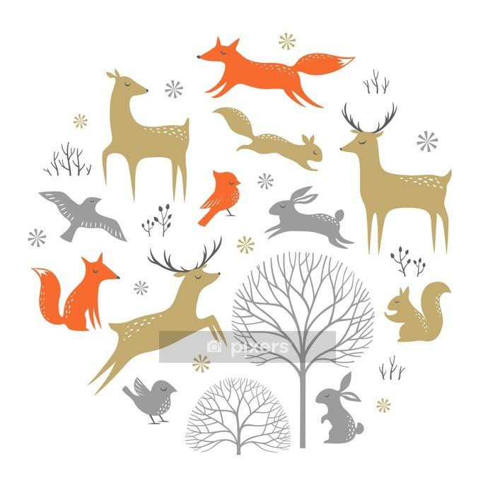 Sticker mural Set of winter woodland elements for Christmas design - Destin