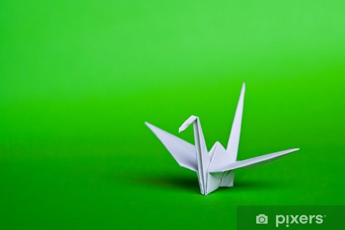 Papier Peint Une Grue D Origami Blanc Sur Un Fond Vert Pixers