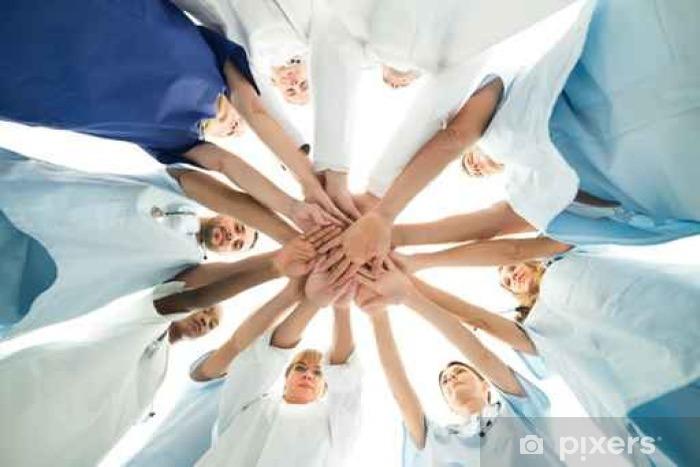 Multiethnic Medical Team Stacking Hands Pixerstick Sticker - People