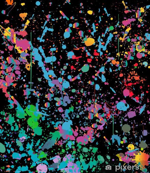 Splash Colorful Room Wall: Abstract Color Splash Illustration On Black Background