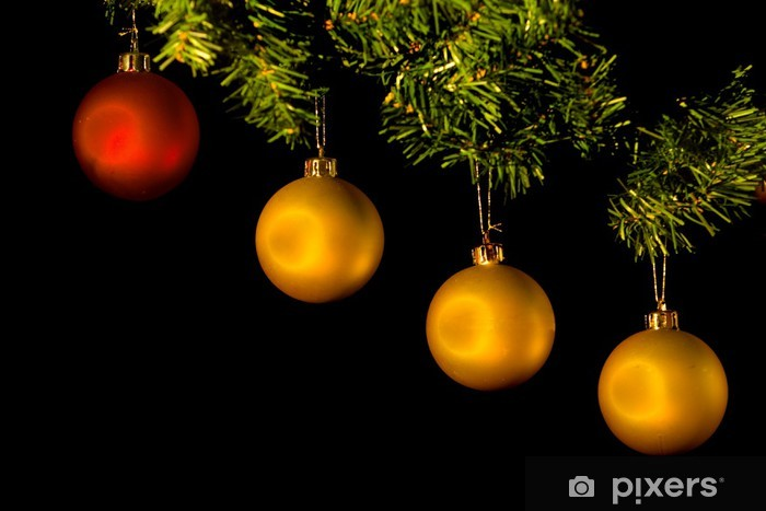 Christmas Ornament Background.Four Christmas Ornaments In Tree Isolated On Black Background Door Sticker