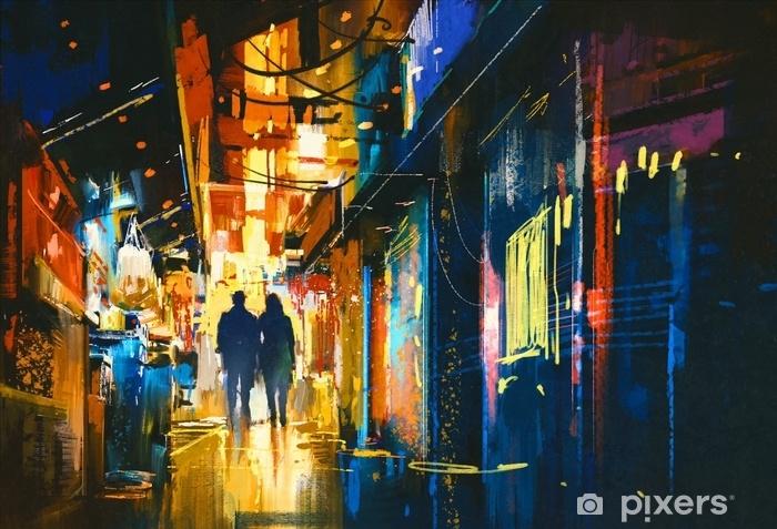 Fototapet av vinyl Par går i bakgate med fargerike lys, digital maleri - Lanskap