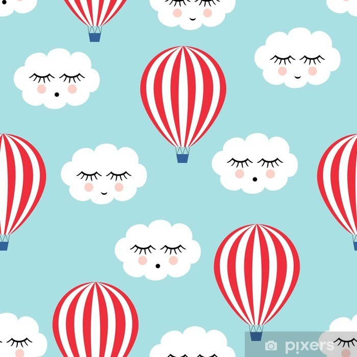 Fototapeta zmywalna Uśmiechnięty śpiących chmury i balonów na ogrzane powietrze szwu. Cute baby shower tło wektor. Styl rysowania dla dzieci. - Transport