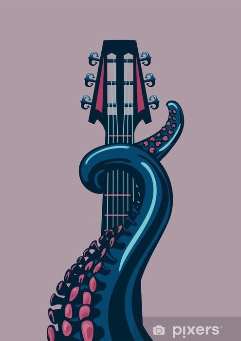 Mural de Parede em Vinil Polvo tentáculo está segurando um riff de guitarra. - Hobbies e Lazer