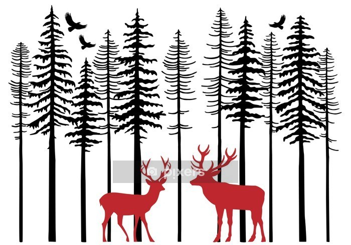 Fir tree forest with reindeer, vector Wall Decal - Forest