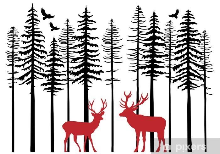 Fir tree forest with reindeer, vector Pixerstick Sticker - Forest