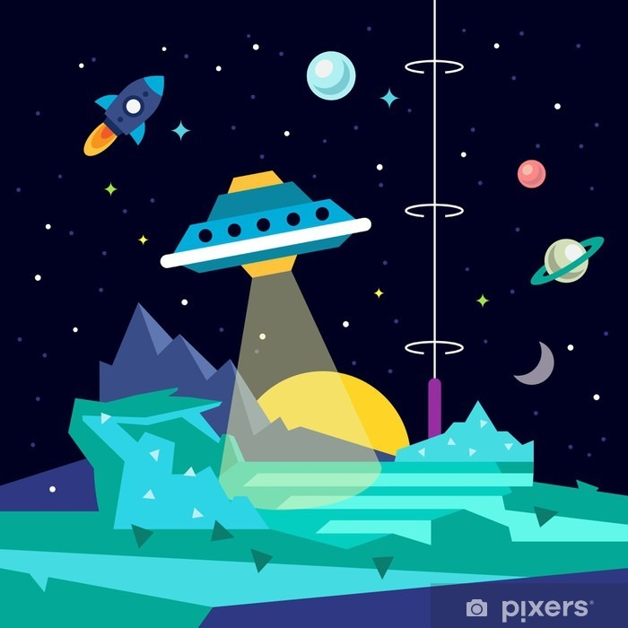 Alien space planet landscape with ufo Poster - Science