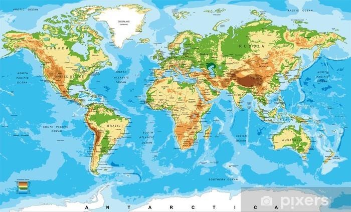 Vinyl Fotobehang Fysieke kaart van de wereld - Overige