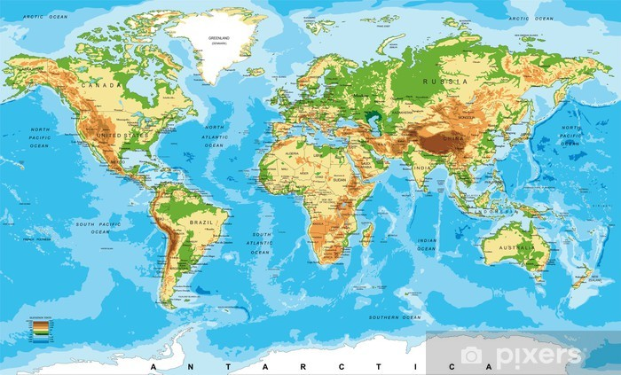 Physical map of the world Washable Wall Mural - Other