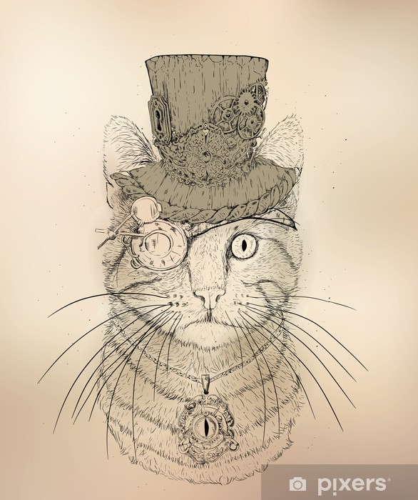 Steampunk Cat Vintage Style Vinyl Wall Mural - Steampunk