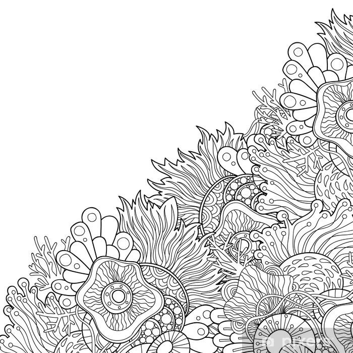 Fototapeta Winylowa Zentangle Style Invitation Card Doodle Wavy Frame Design For Card Decorative Abstract Element Border