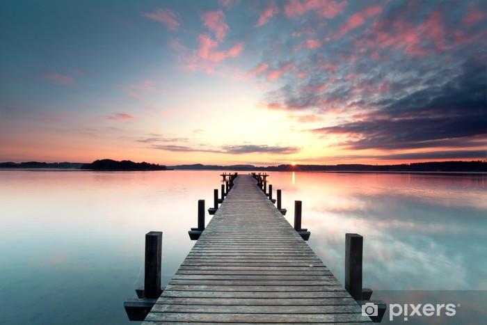 Fototapeta samoprzylepna Sommermorgen mit Sonnenaufgang - Woda