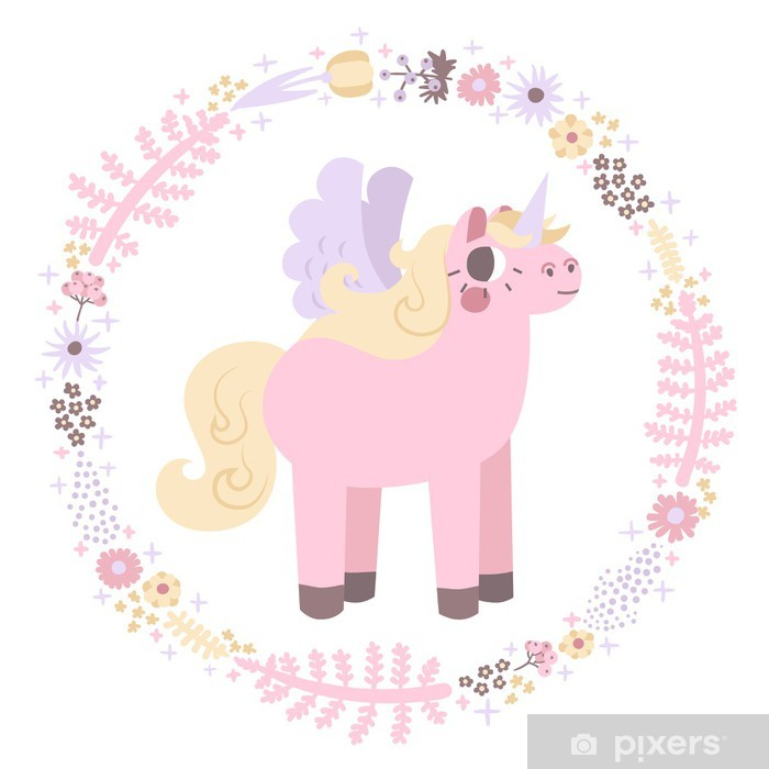 Sticker Pixerstick Unicorns vector background (couleurs pastel) - Mammifères