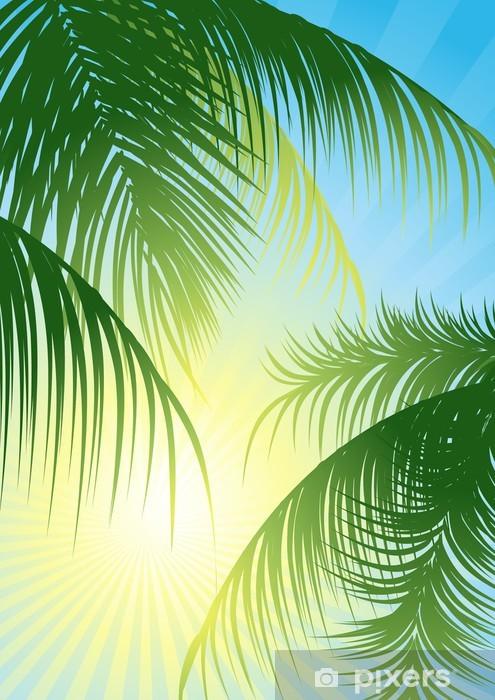Vinyl-Fototapete Sun-Strahlen durch den tropischen Blatt-, Vektor-Illustration - Bäume