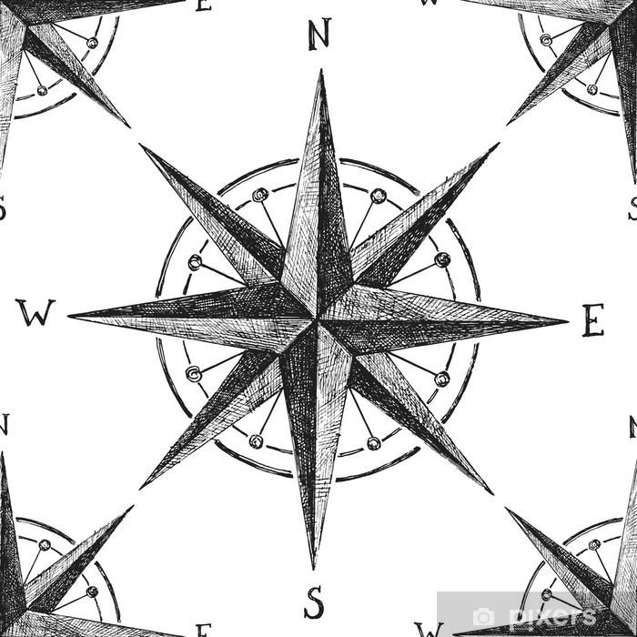 seamless pattern with wind rose Pixerstick Sticker - Travel