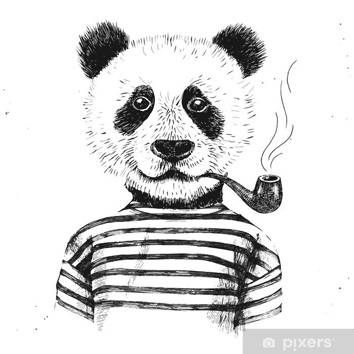 Vinilo Pixerstick Dibujado a mano Ilustración de la panda inconformista - Animales