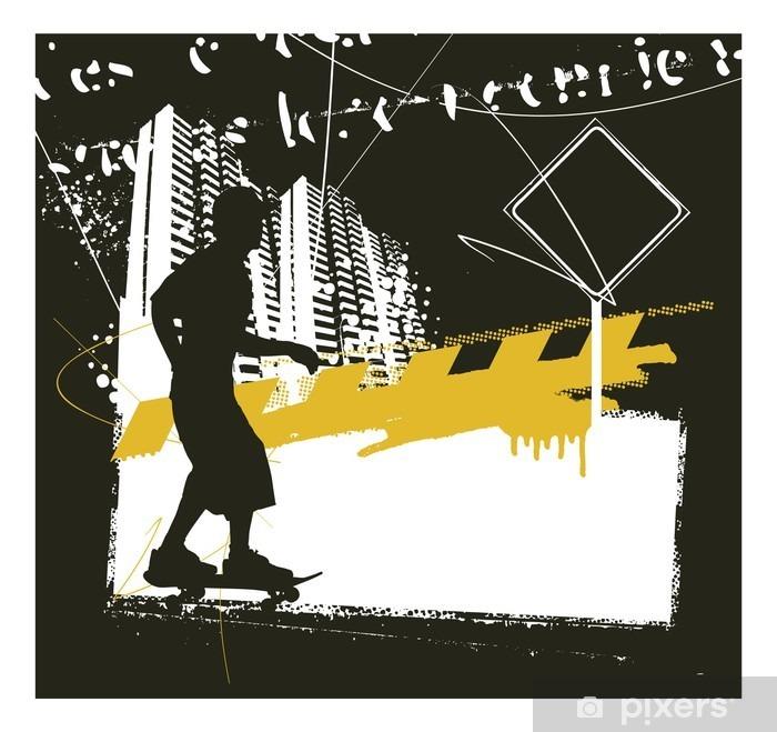 skater with grunge urban scene Poster - Sports