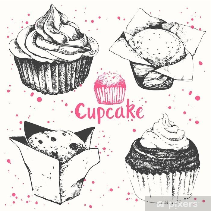 Fototapete Cupcakes Und Muffins Set Von Hand Gezeichnet Kuchen