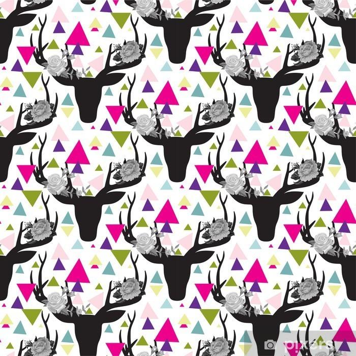 Vinyl Fotobehang Hipster naadloze patroon met driehoek, herten hoorns -