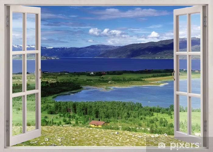 Papier peint vinyle Vue de la fenêtre ouverte au paysage avec la rivière, les collines et les champs - Thèmes