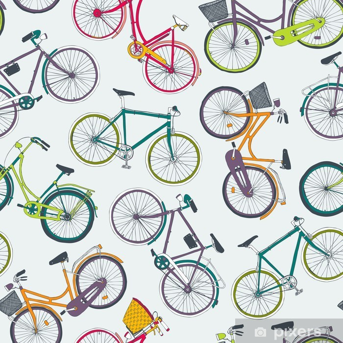 hand drawn vector seamless pattern with city bikes Vinyl Wall Mural - Transport