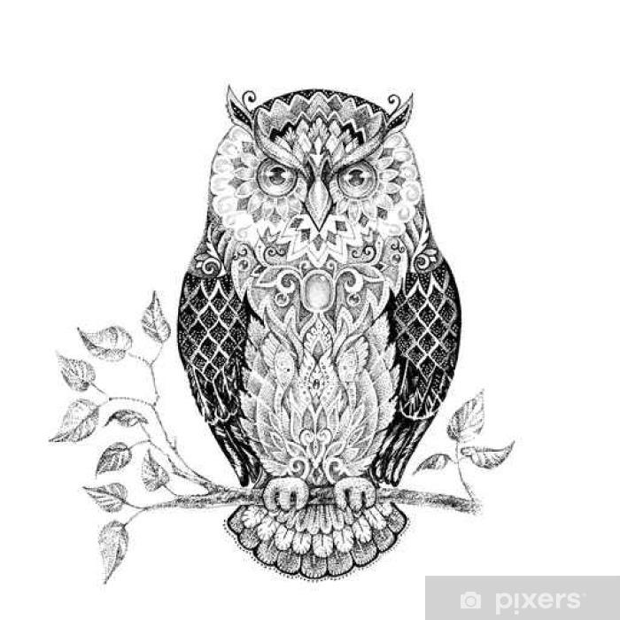fotobehang tekening uil met mooie patronen • pixers® - we leven om