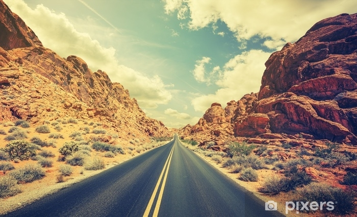 Retro stylized desert highway, travel adventure concept. Vinyl Wall Mural - Travel