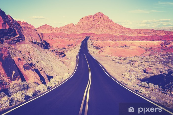 Vintage toned curved desert highway, travel concept, USA Pixerstick Sticker - Travel