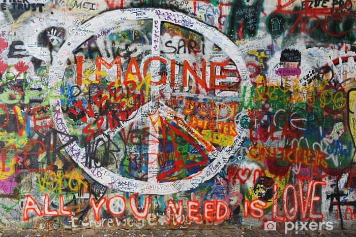 Carta da Parati in Vinile Colorito graffiti pace sulla parete - Arte e Creazione