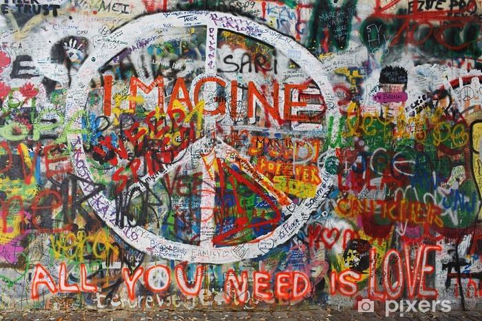 Vinyl Fotobehang Colourfull vrede graffiti op muur - Kunst en Creatie