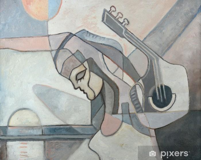 Papier peint vinyle Peinture abstraite Avec Femme et guitare - Passe-temps et loisirs