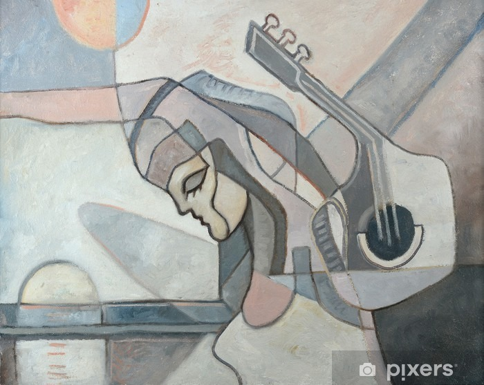 Abstract Painting With Woman and Guitar Vinyl Wall Mural - Hobbies and Leisure